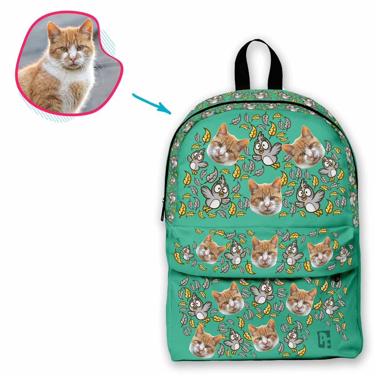 mint Bird classic backpack personalized with photo of face printed on it