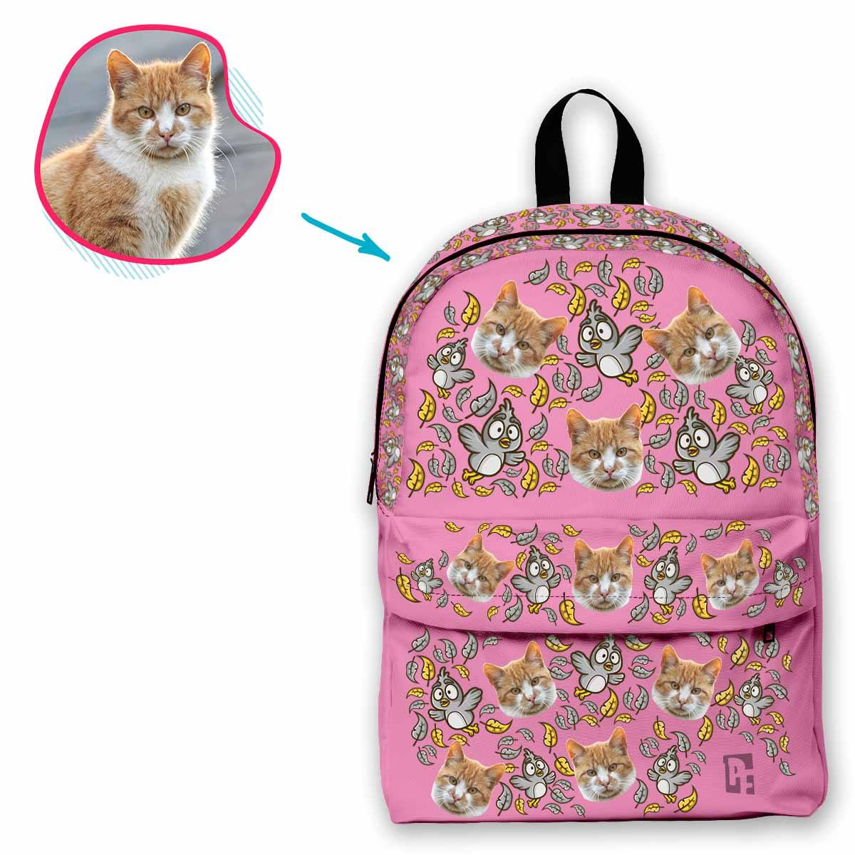 pink Bird classic backpack personalized with photo of face printed on it