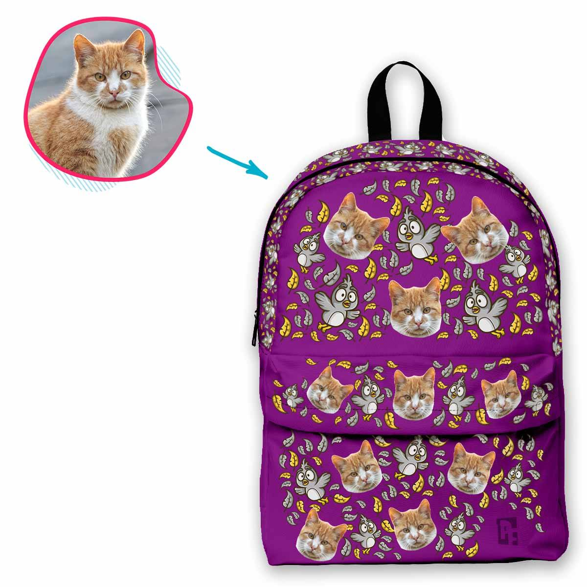 purple Bird classic backpack personalized with photo of face printed on it