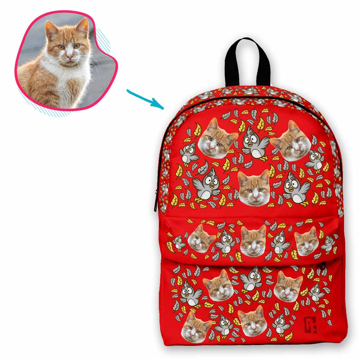 red Bird classic backpack personalized with photo of face printed on it