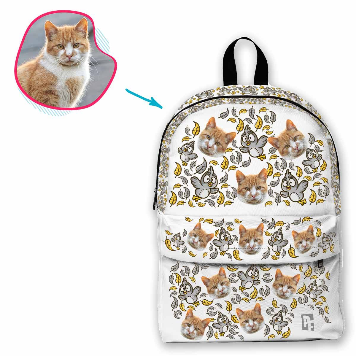 white Bird classic backpack personalized with photo of face printed on it