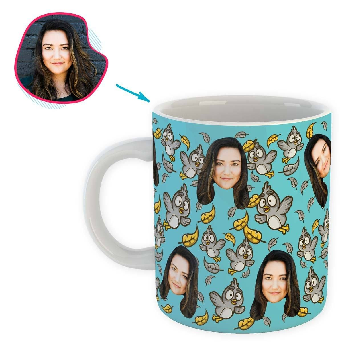 blue Bird mug personalized with photo of face printed on it