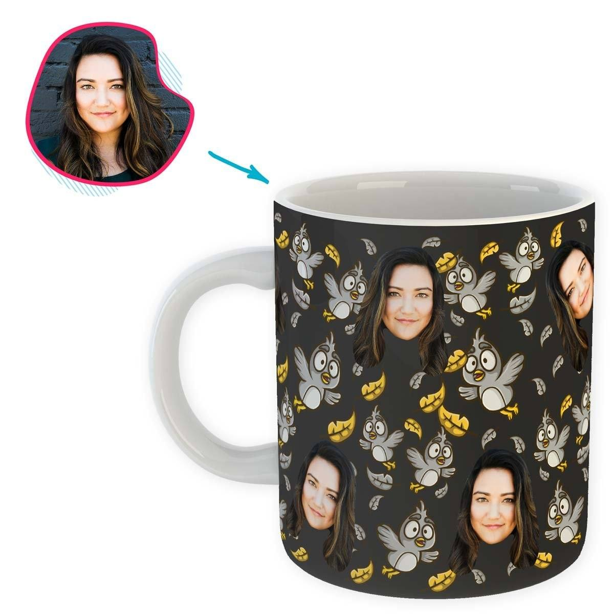 dark Bird mug personalized with photo of face printed on it