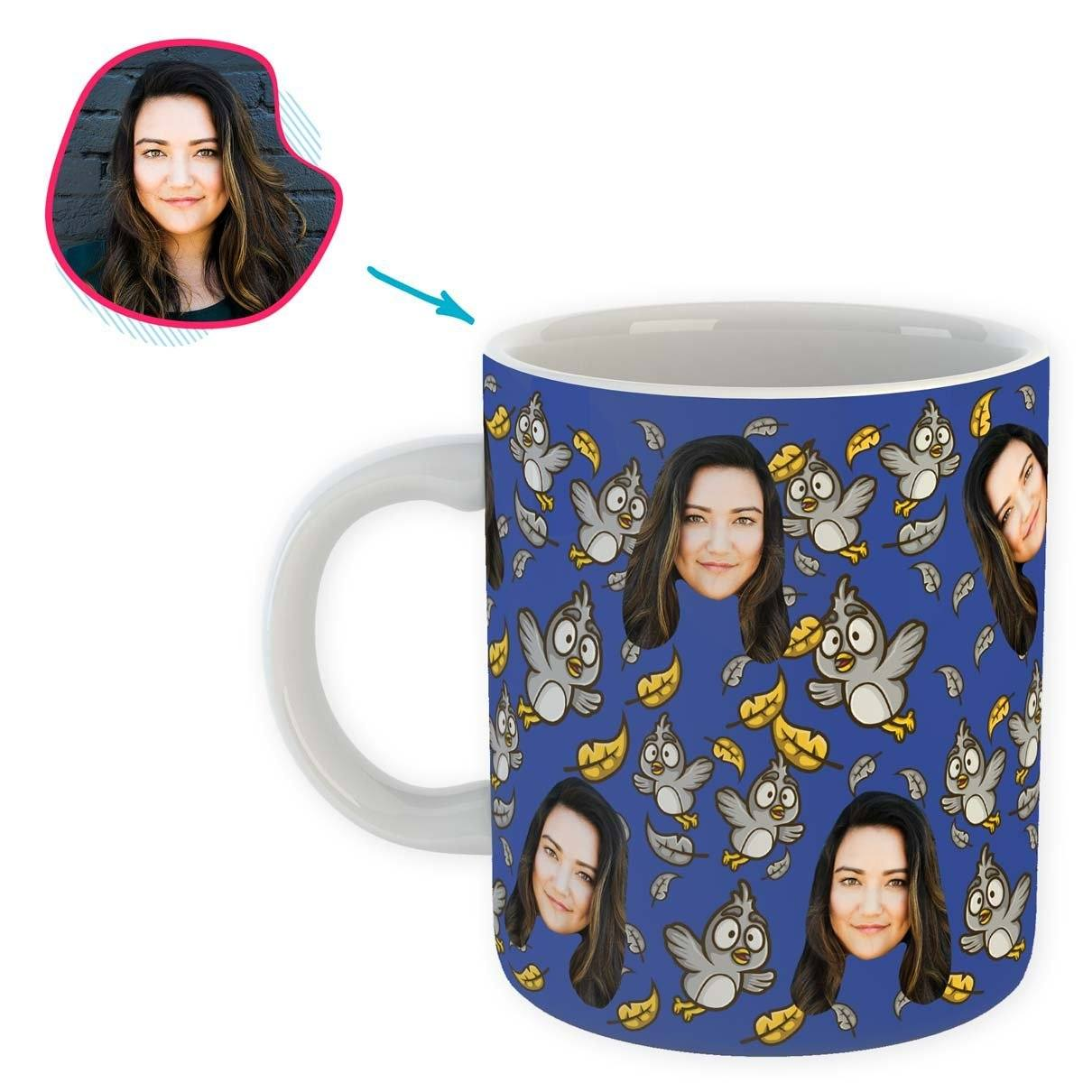 darkblue Bird mug personalized with photo of face printed on it