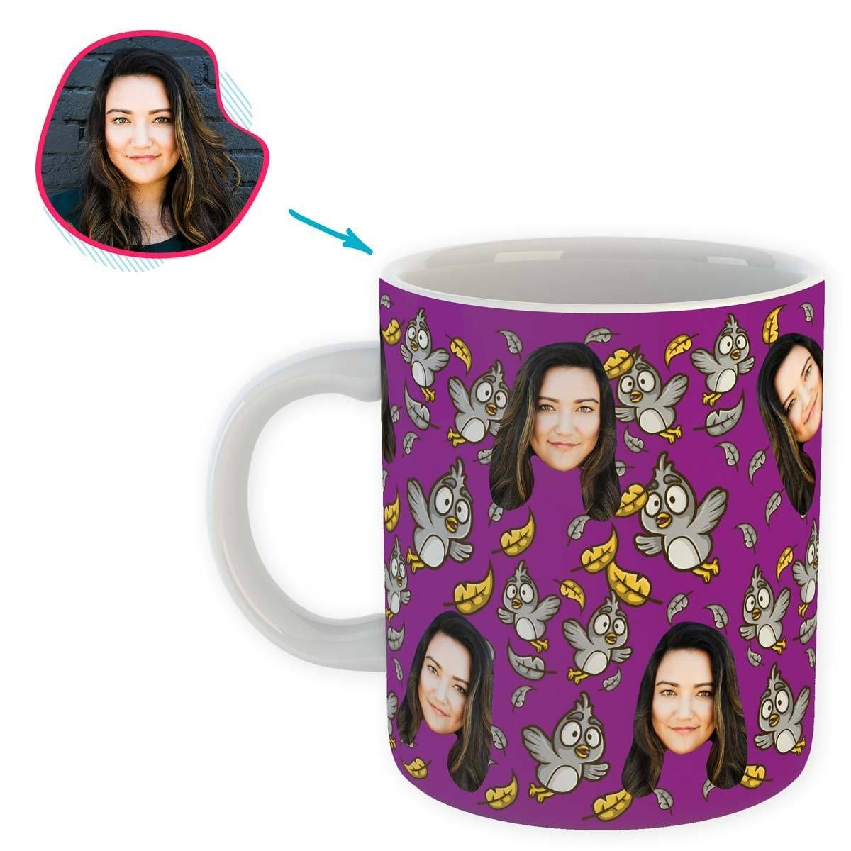 purple Bird mug personalized with photo of face printed on it