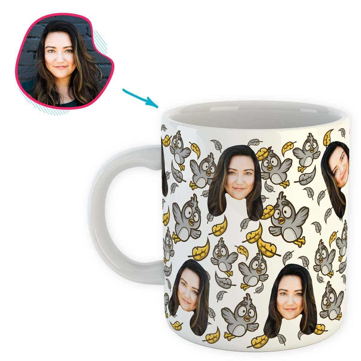 white Bird mug personalized with photo of face printed on it