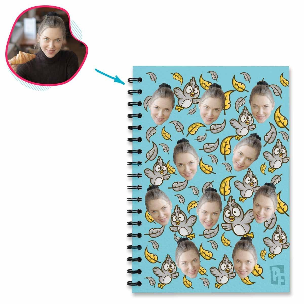 blue Bird Notebook personalized with photo of face printed on them