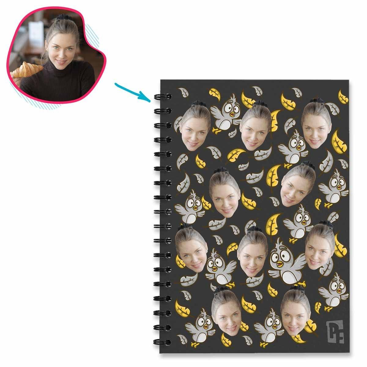 dark Bird Notebook personalized with photo of face printed on them