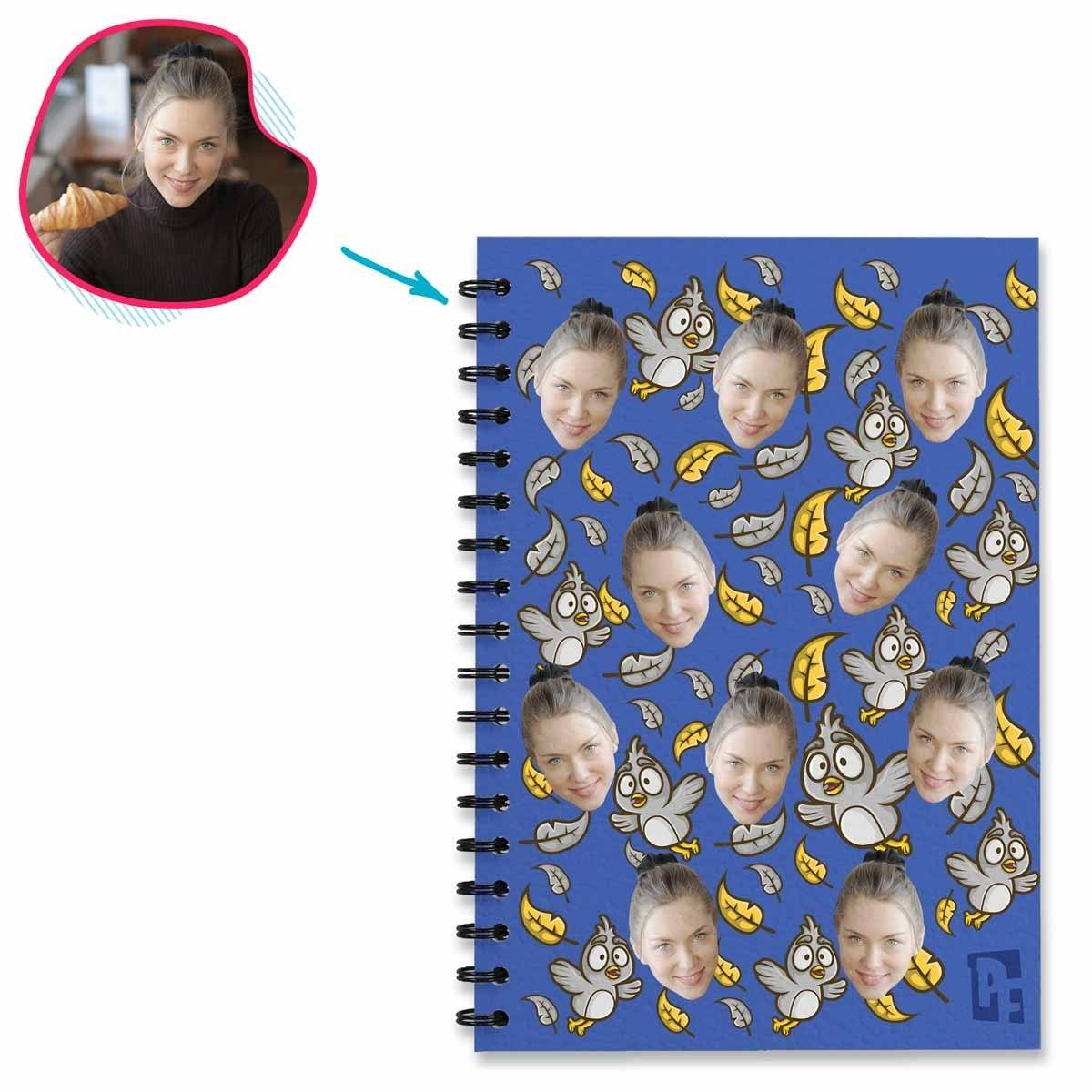 darkblue Bird Notebook personalized with photo of face printed on them