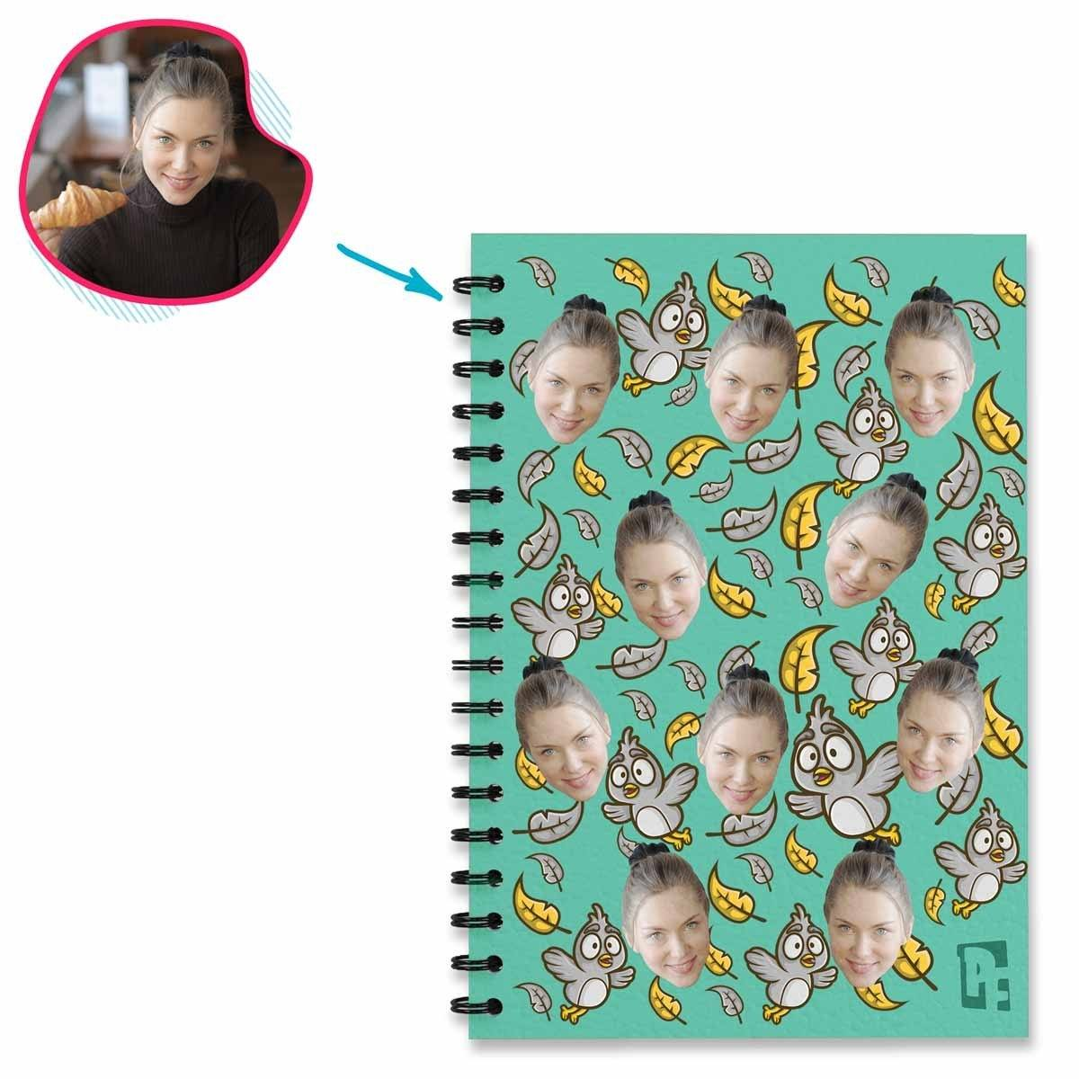 mint Bird Notebook personalized with photo of face printed on them