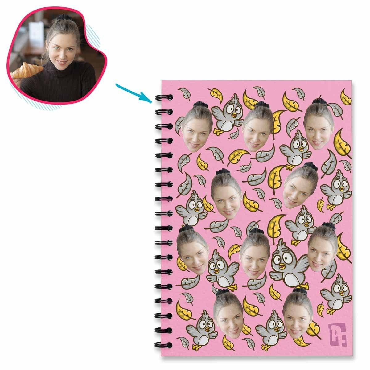 pink Bird Notebook personalized with photo of face printed on them