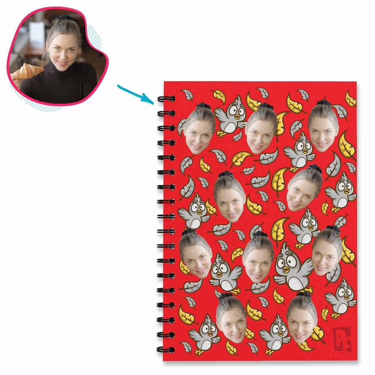 red Bird Notebook personalized with photo of face printed on them