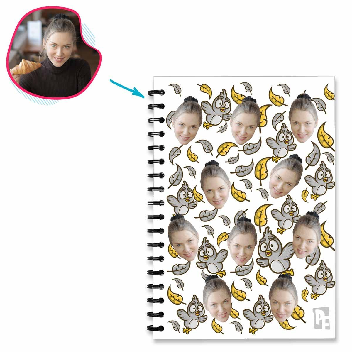 white Bird Notebook personalized with photo of face printed on them