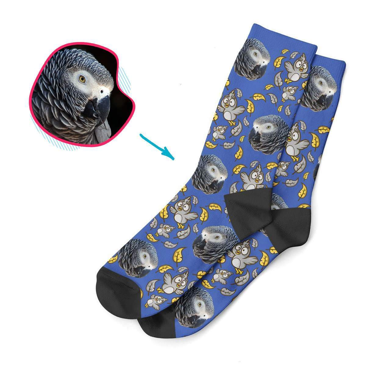 darkblue Bird socks personalized with photo of face printed on them