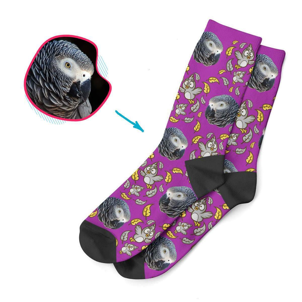 purple Bird socks personalized with photo of face printed on them