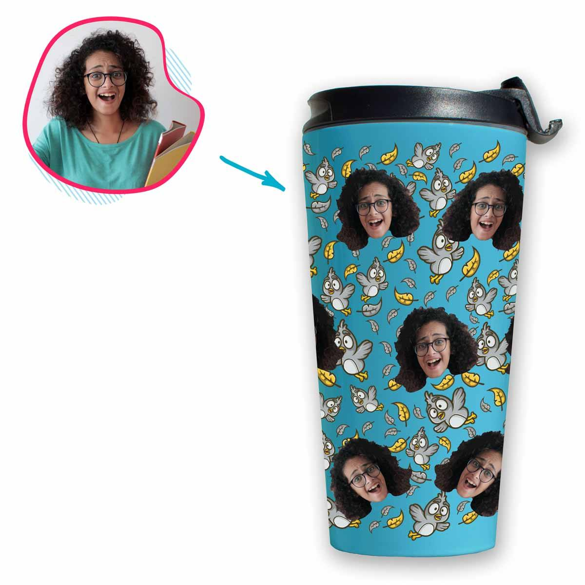 blue Bird travel mug personalized with photo of face printed on it