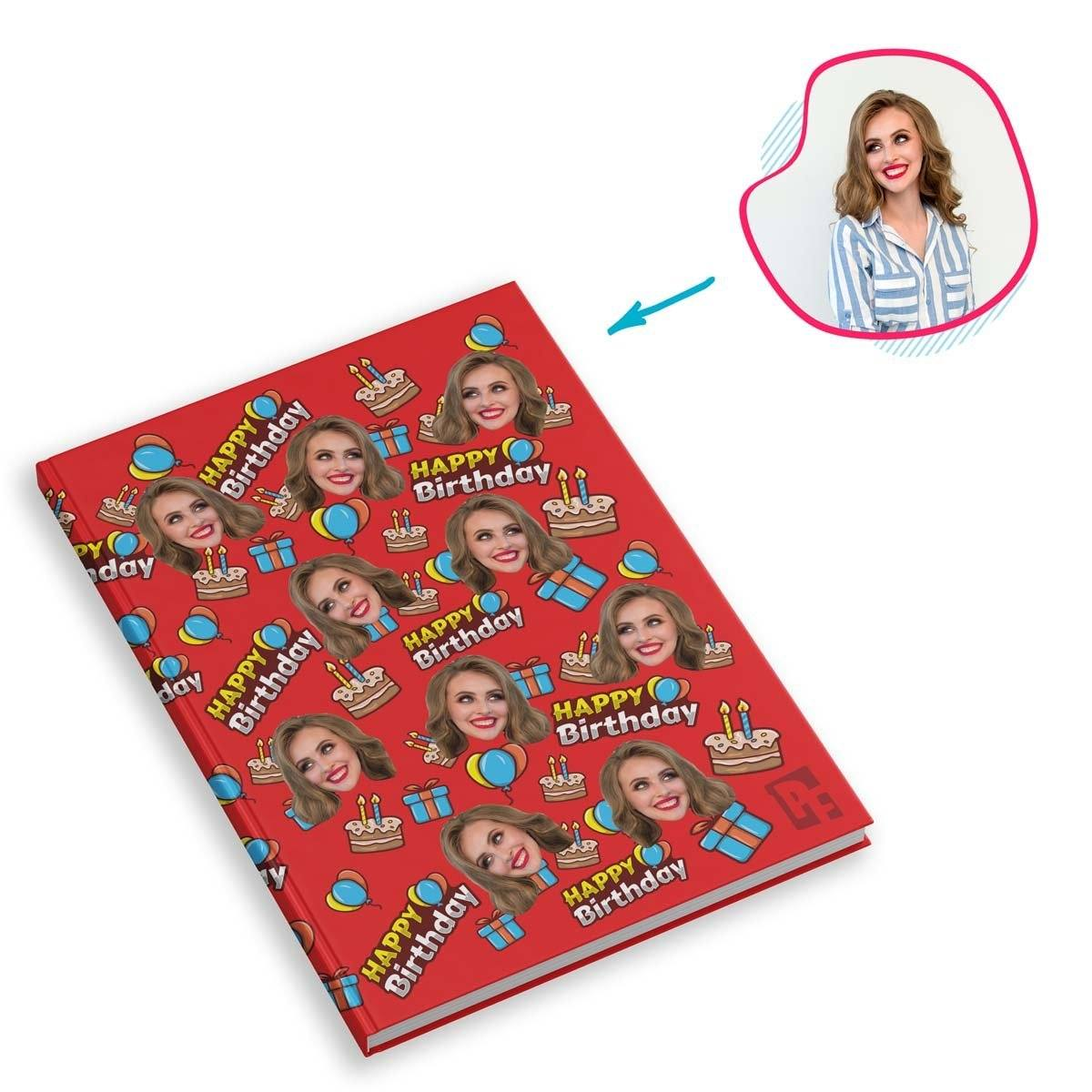 red Birthday Notebook personalized with photo of face printed on them