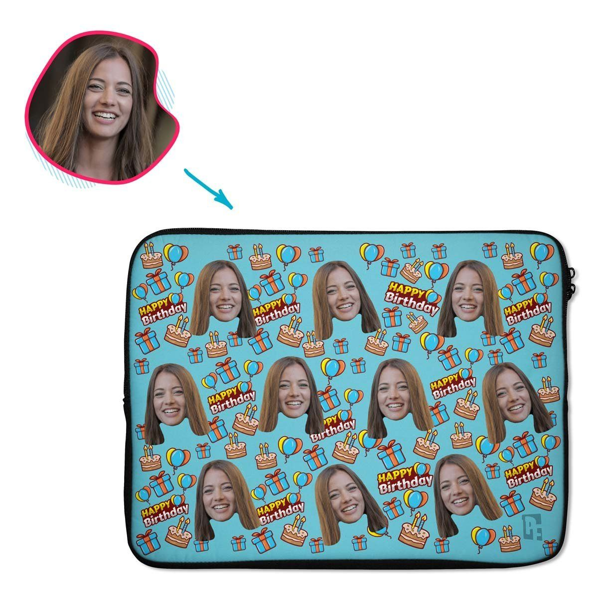 blue Birthday laptop sleeve personalized with photo of face printed on them