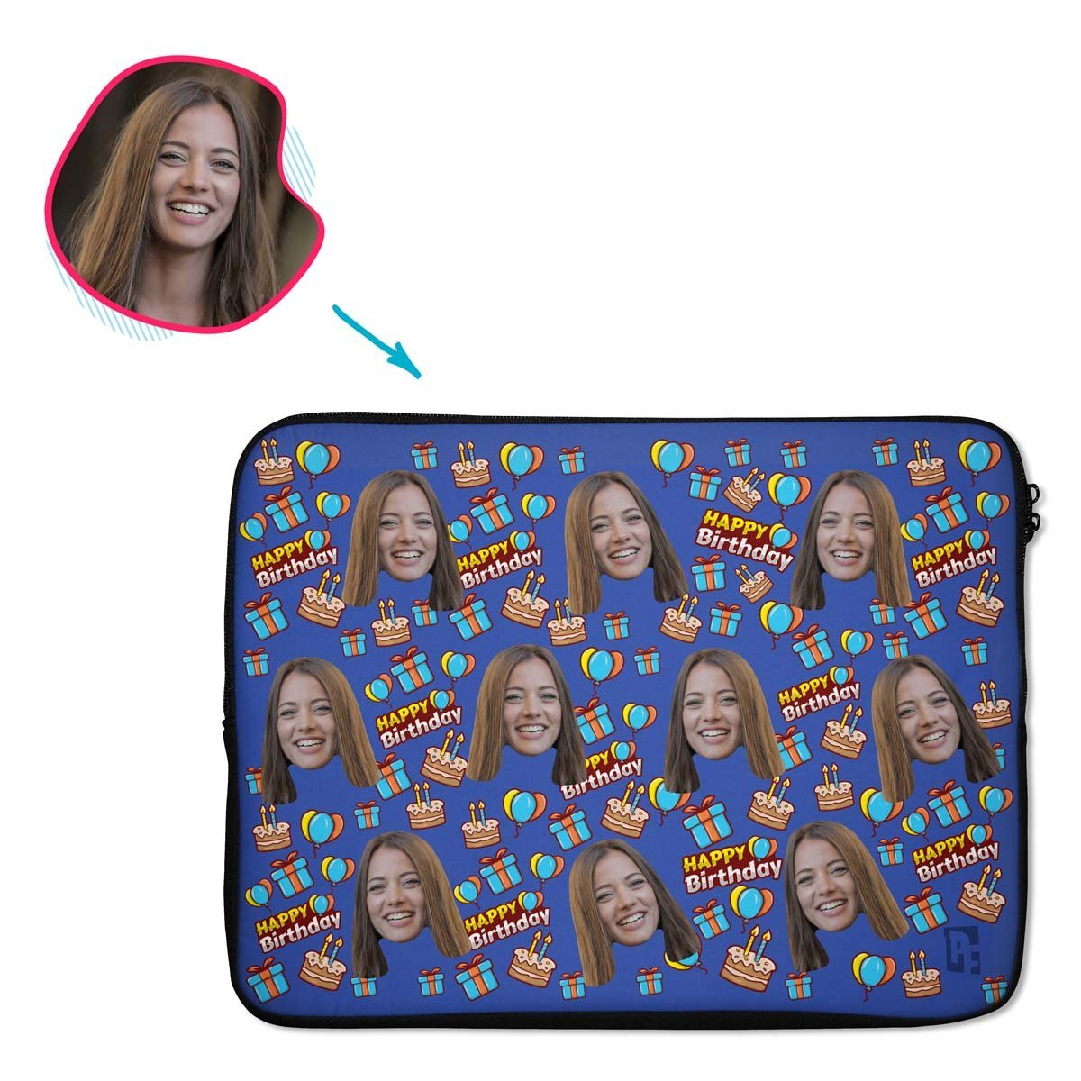 darkblue Birthday laptop sleeve personalized with photo of face printed on them