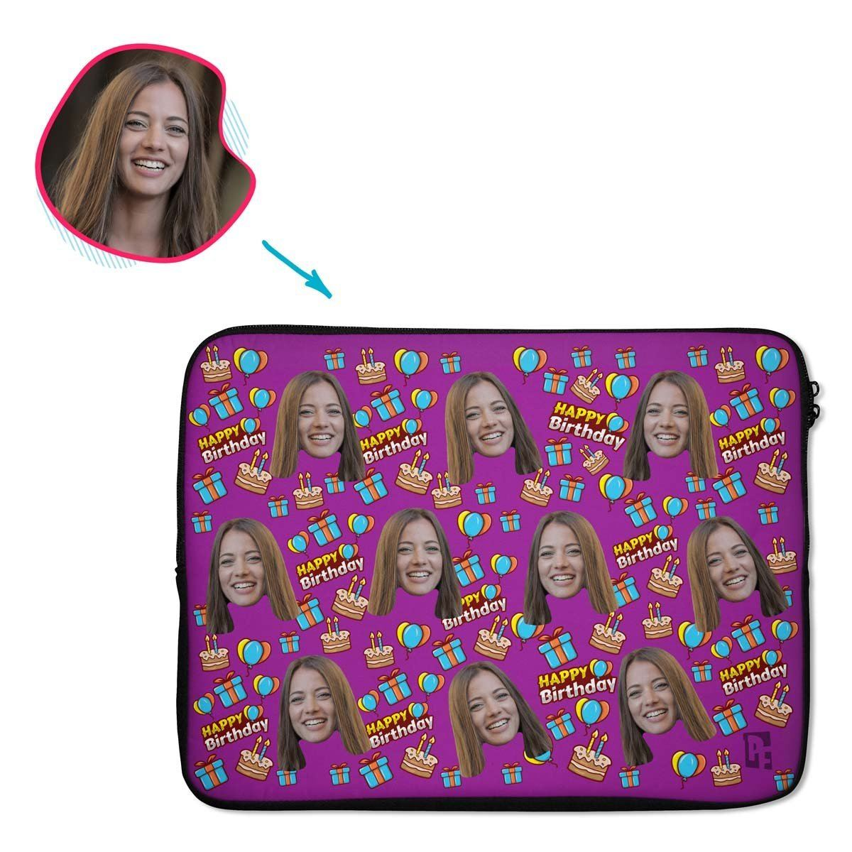 purple Birthday laptop sleeve personalized with photo of face printed on them
