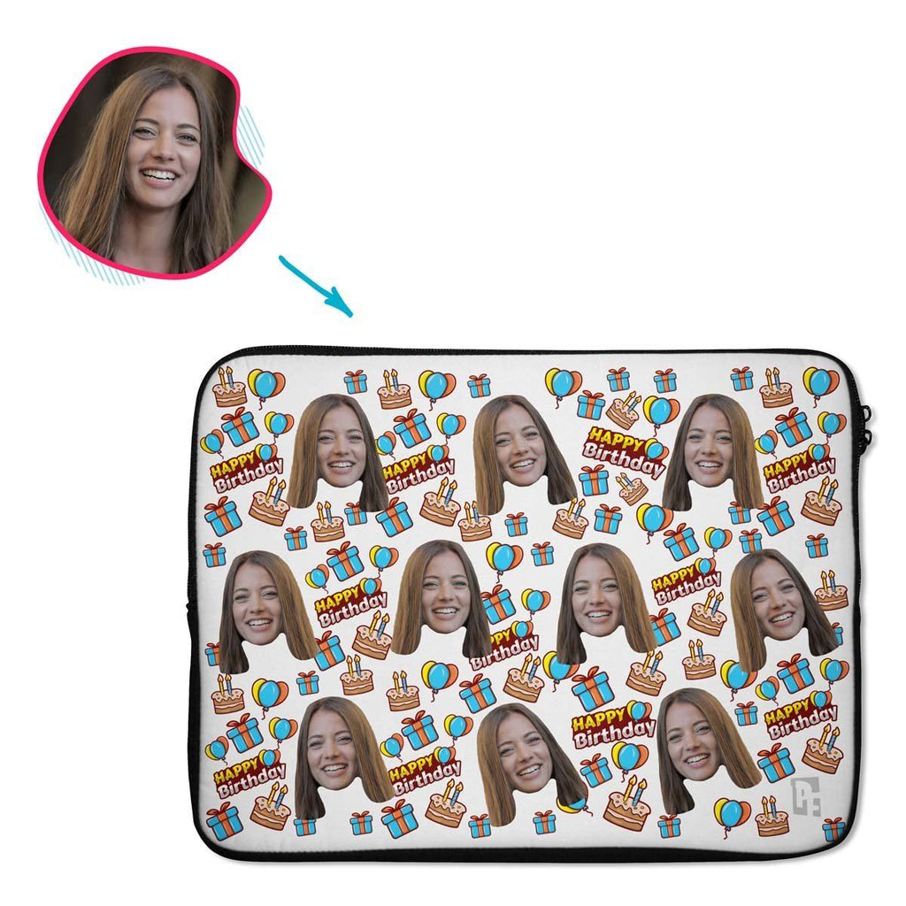 white Birthday laptop sleeve personalized with photo of face printed on them