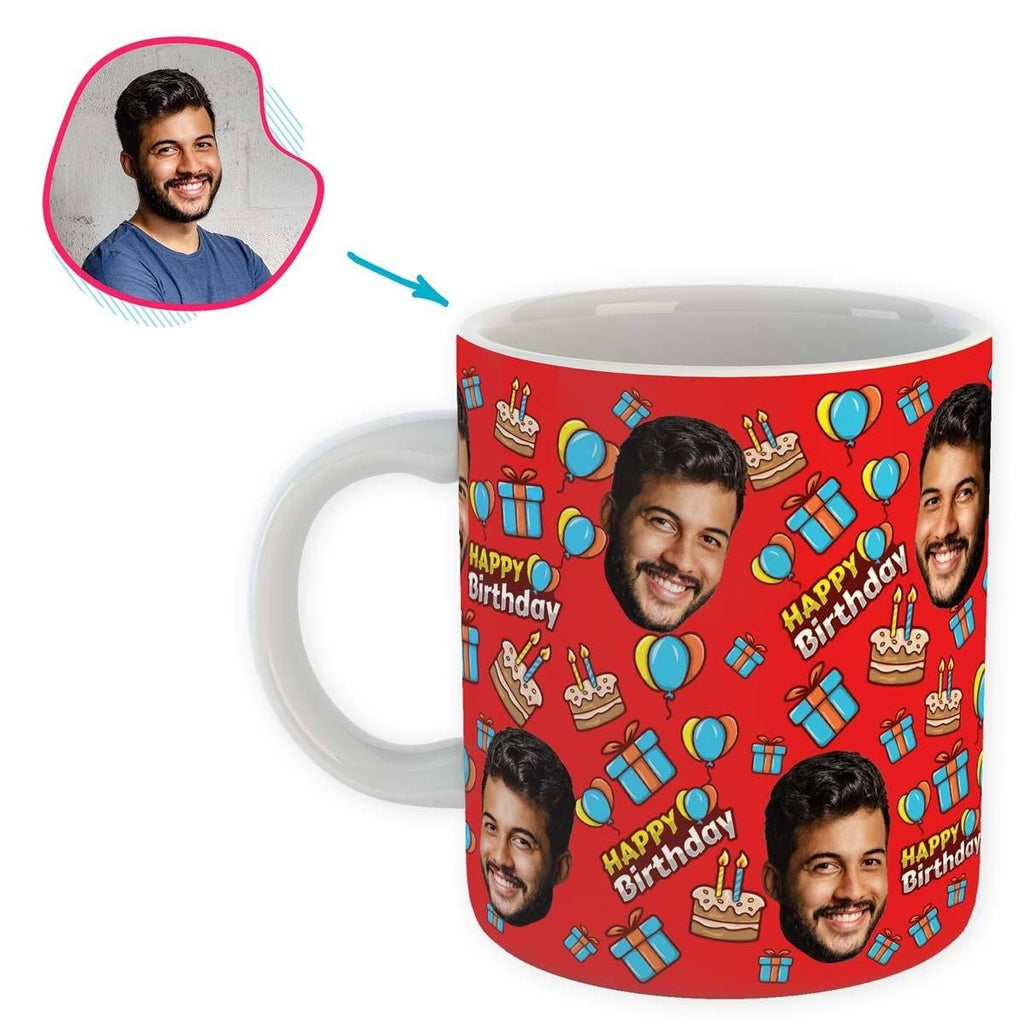 red Birthday mug personalized with photo of face printed on it