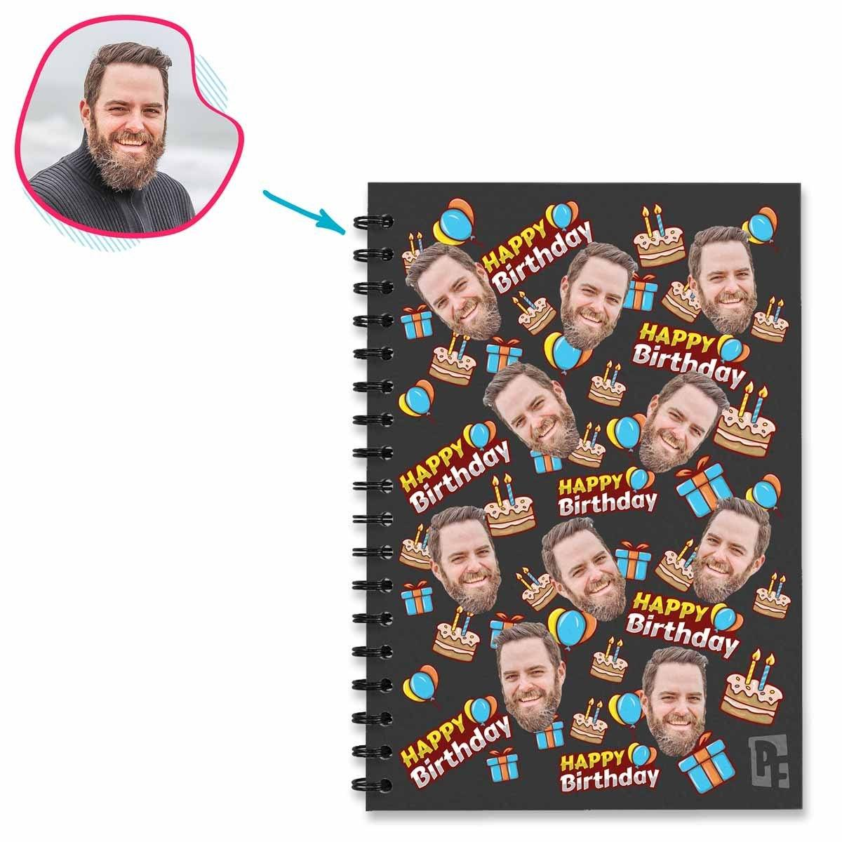 dark Birthday Notebook personalized with photo of face printed on them
