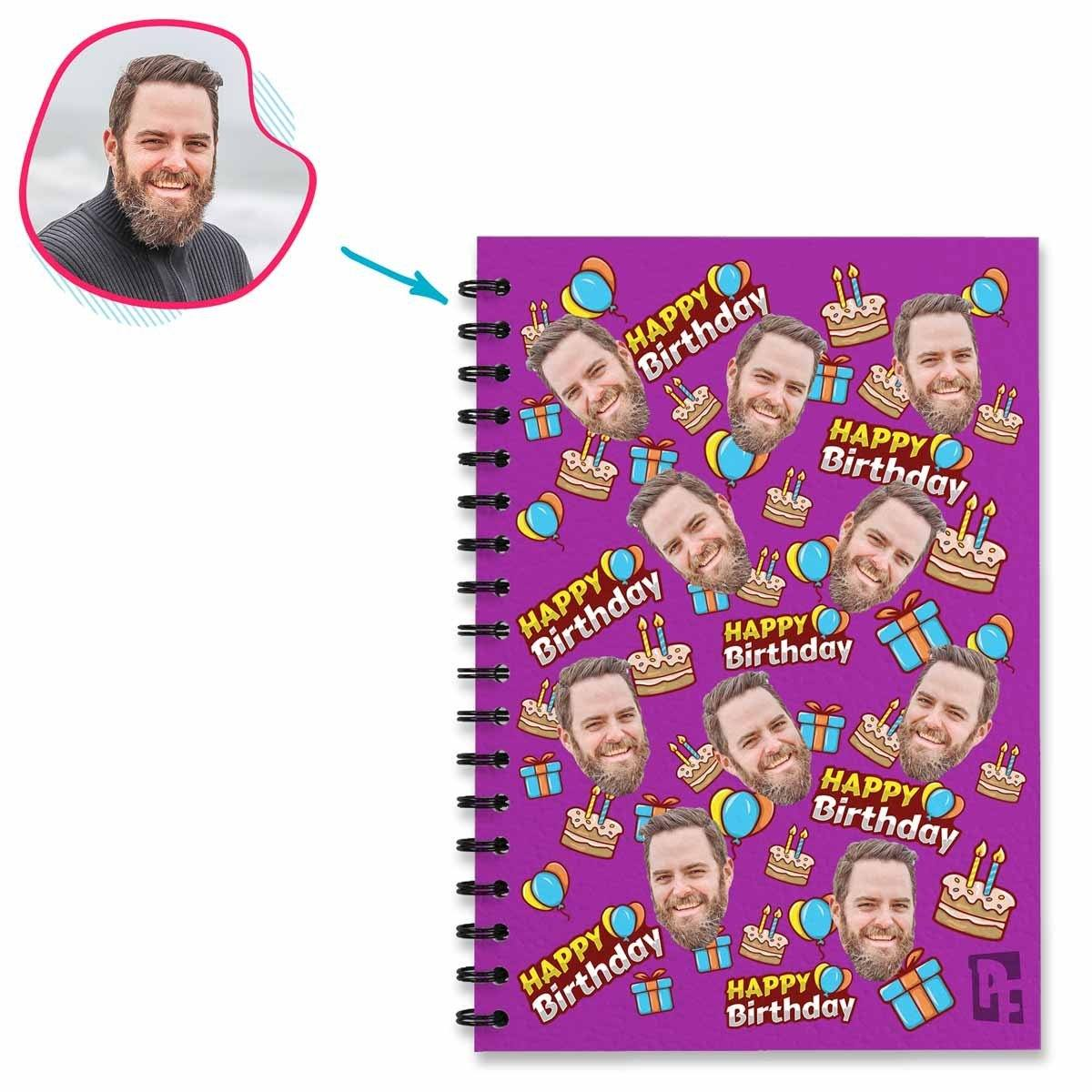 purple Birthday Notebook personalized with photo of face printed on them