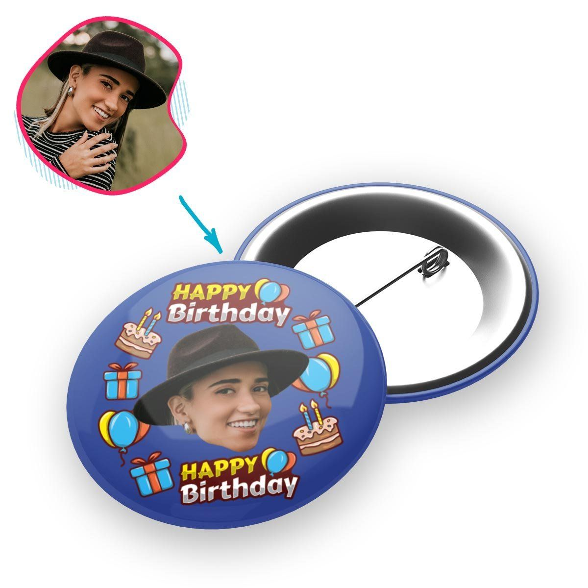 darkblue Birthday pin personalized with photo of face printed on it