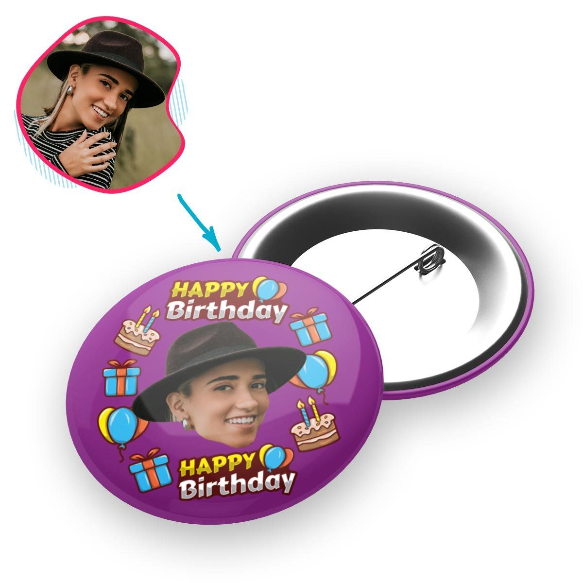 purple Birthday pin personalized with photo of face printed on it