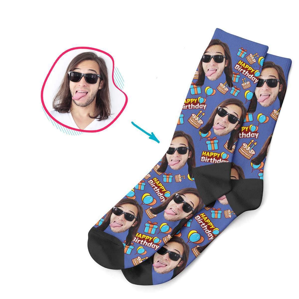 darkblue Birthday socks personalized with photo of face printed on them