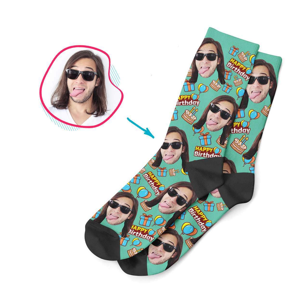mint Birthday socks personalized with photo of face printed on them