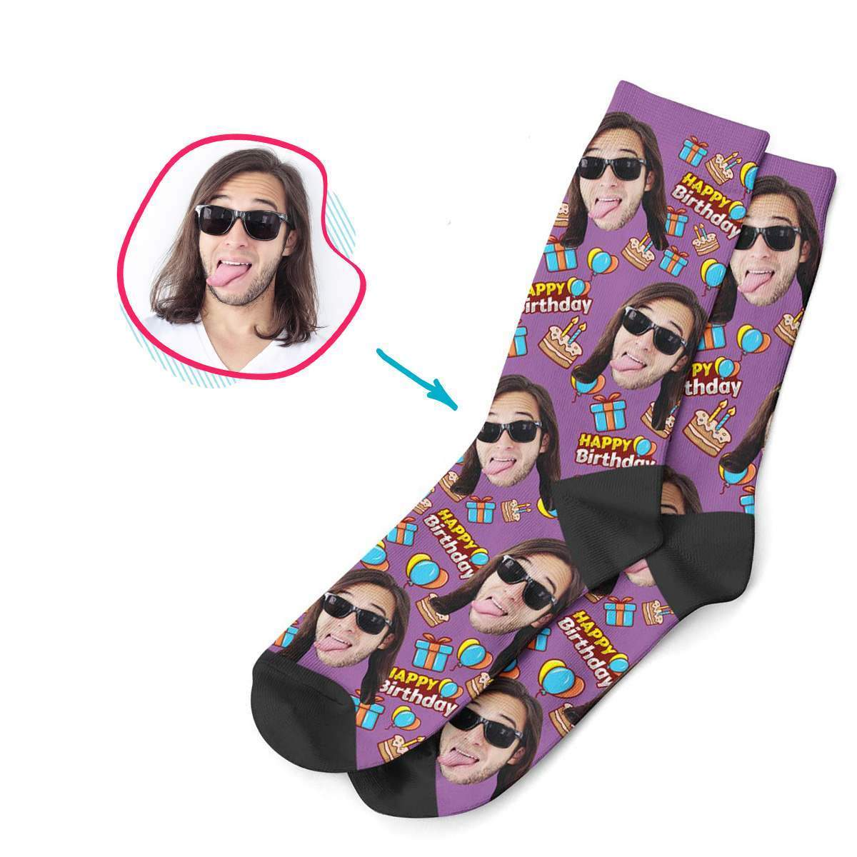 purple Birthday socks personalized with photo of face printed on them