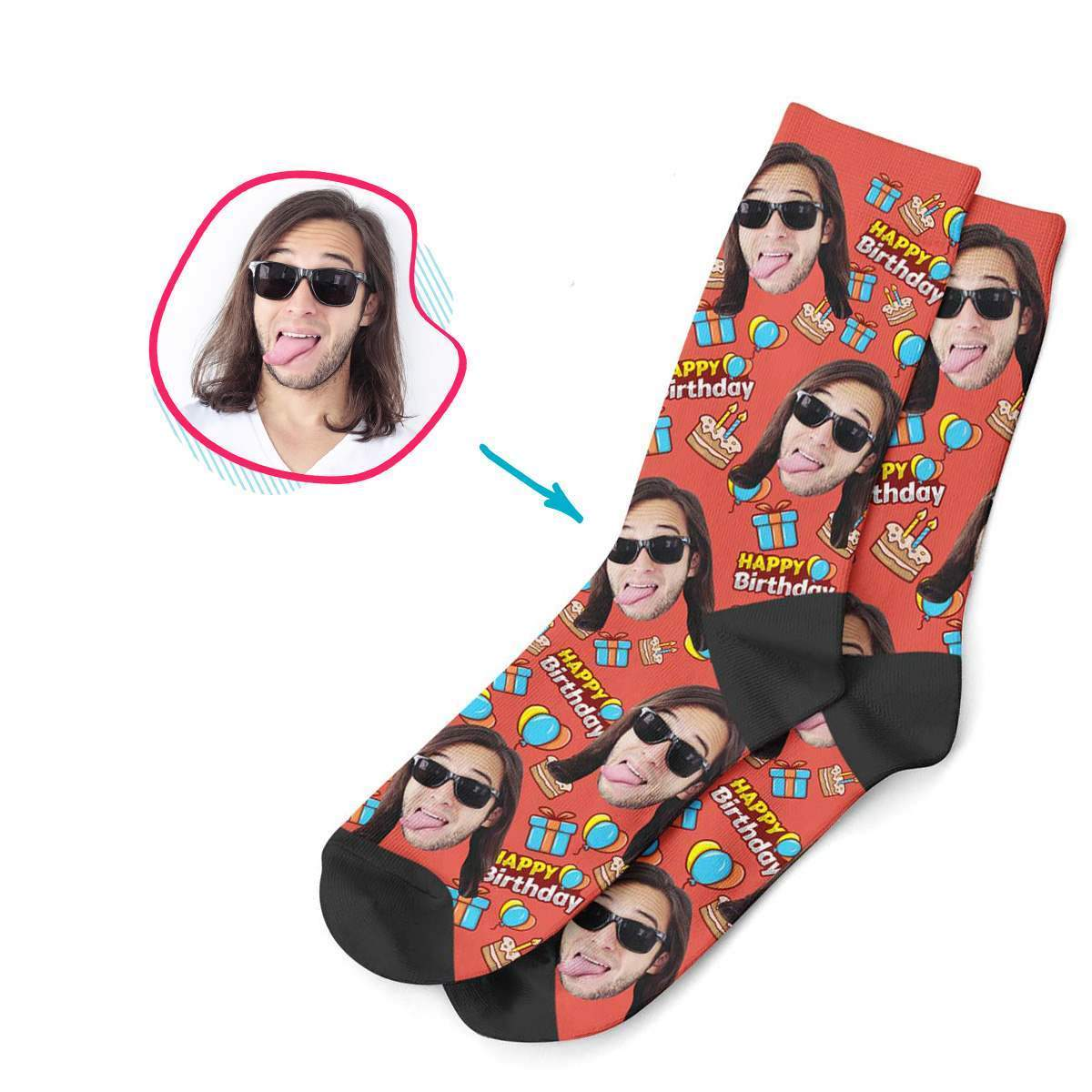 red Birthday socks personalized with photo of face printed on them