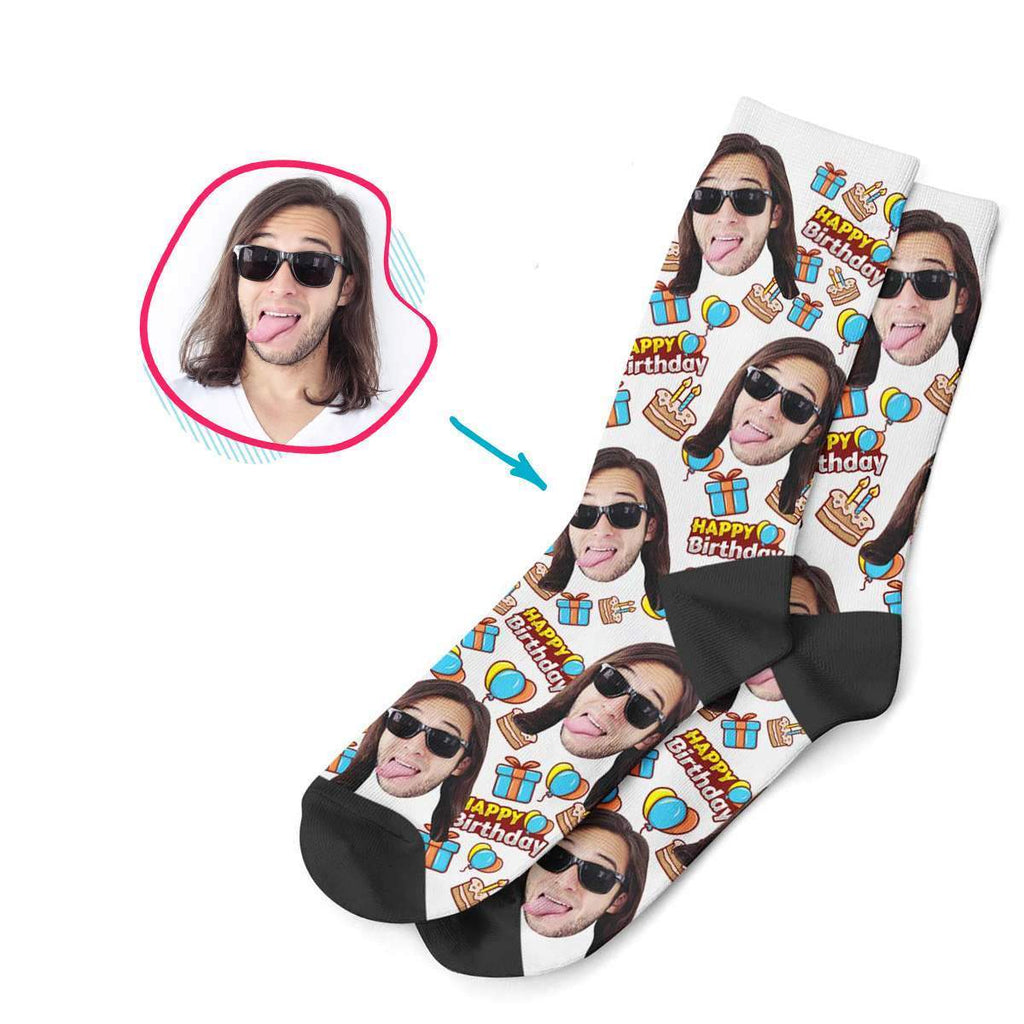 white Birthday socks personalized with photo of face printed on them