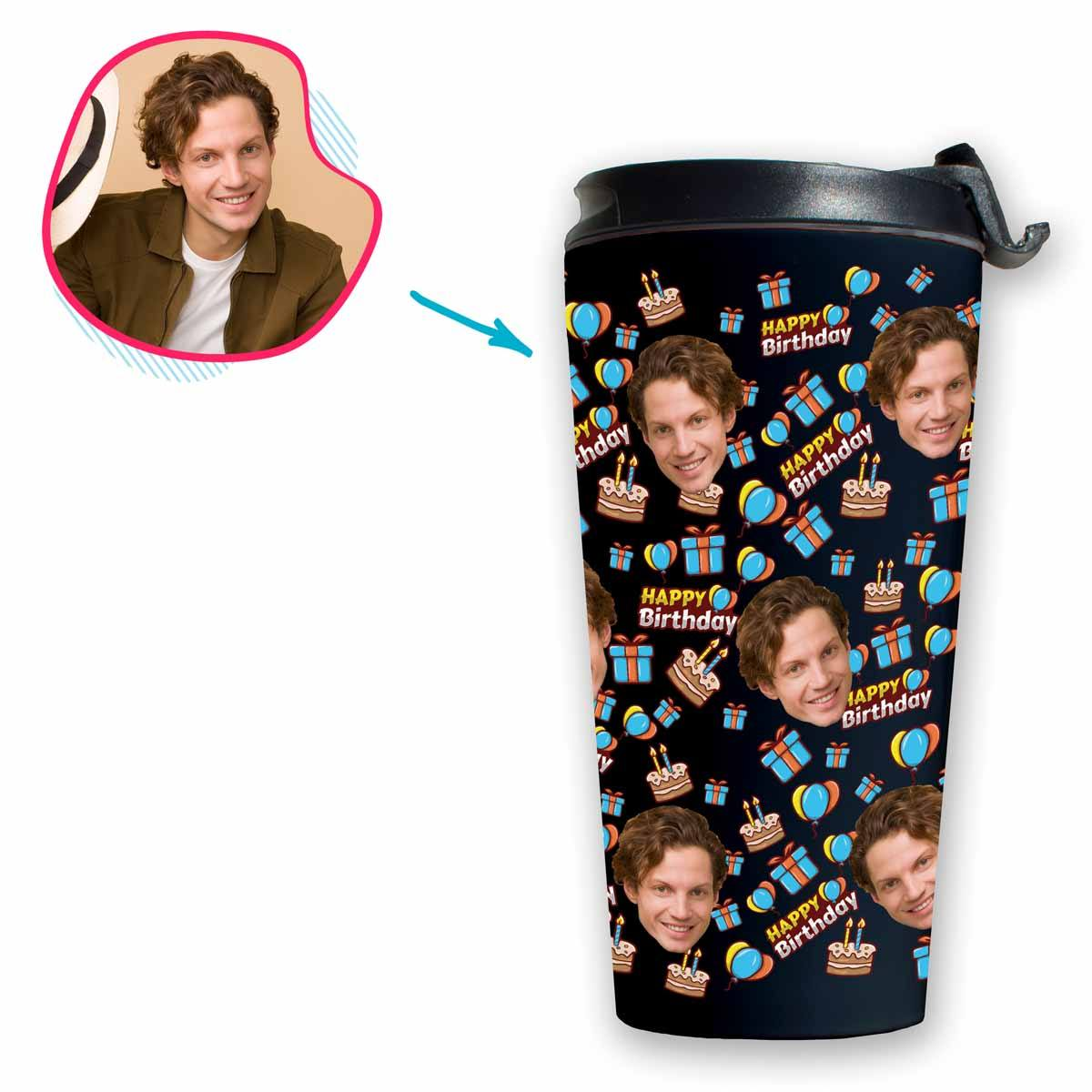 dark Birthday travel mug personalized with photo of face printed on it