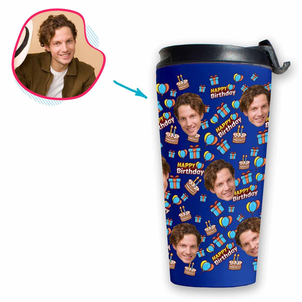 darkblue Birthday travel mug personalized with photo of face printed on it
