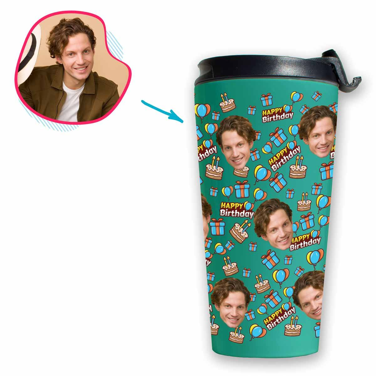 mint Birthday travel mug personalized with photo of face printed on it