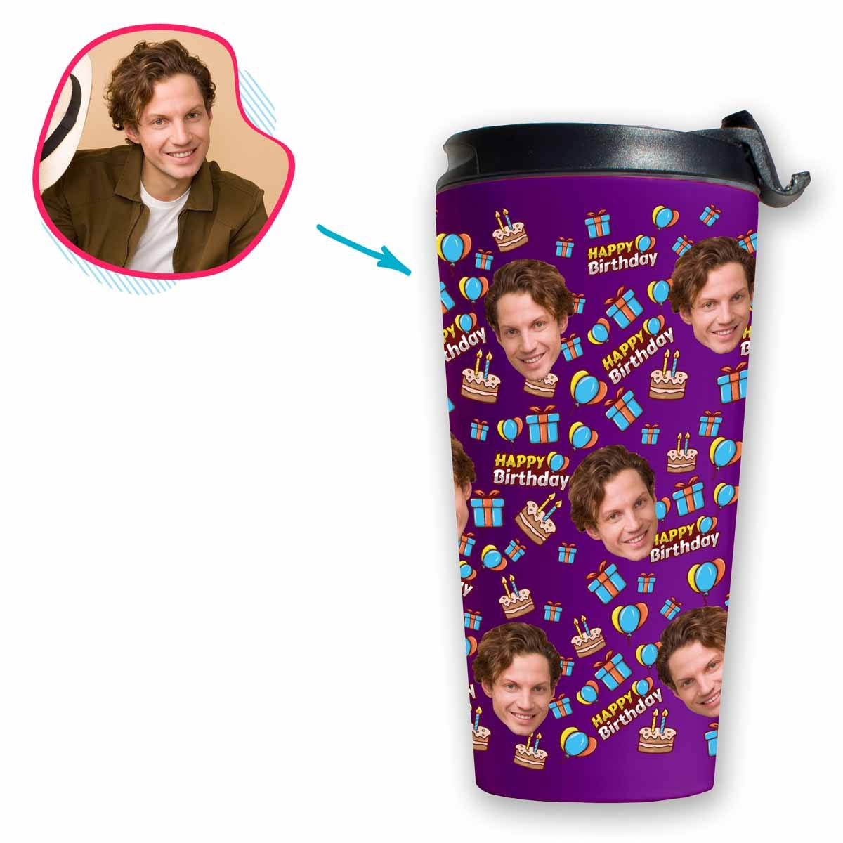 purple Birthday travel mug personalized with photo of face printed on it