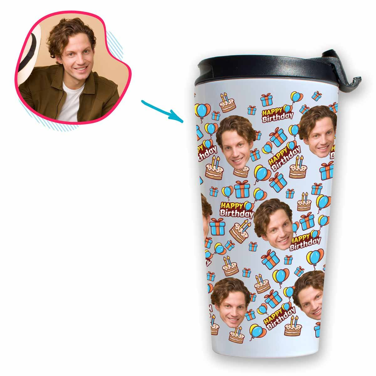 white Birthday travel mug personalized with photo of face printed on it