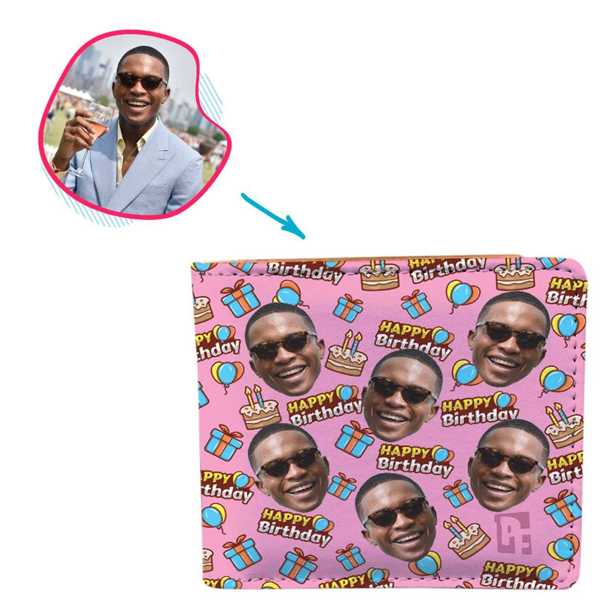 pink Birthday wallet personalized with photo of face printed on it