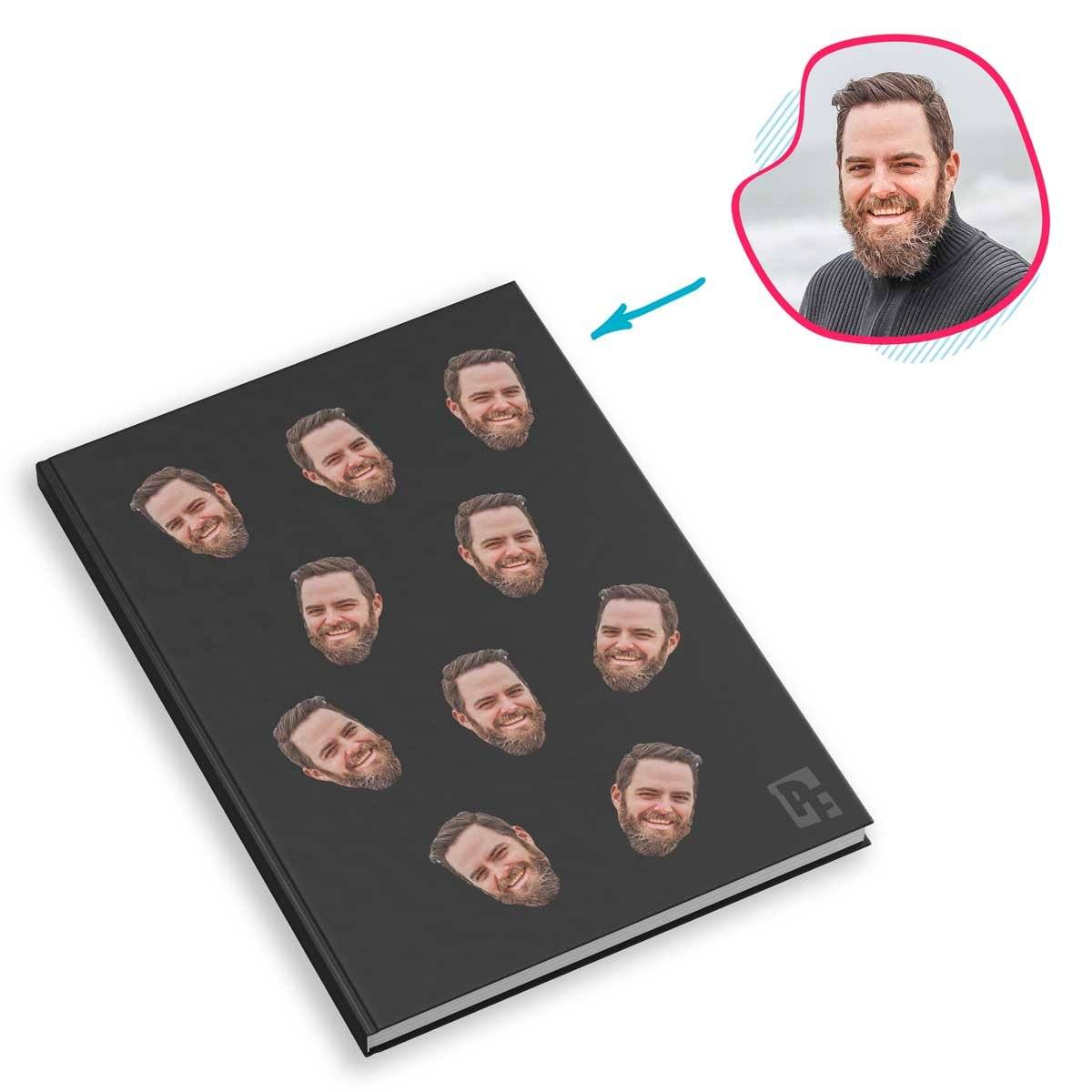 dark Blank design Notebook personalized with photo of face printed on them