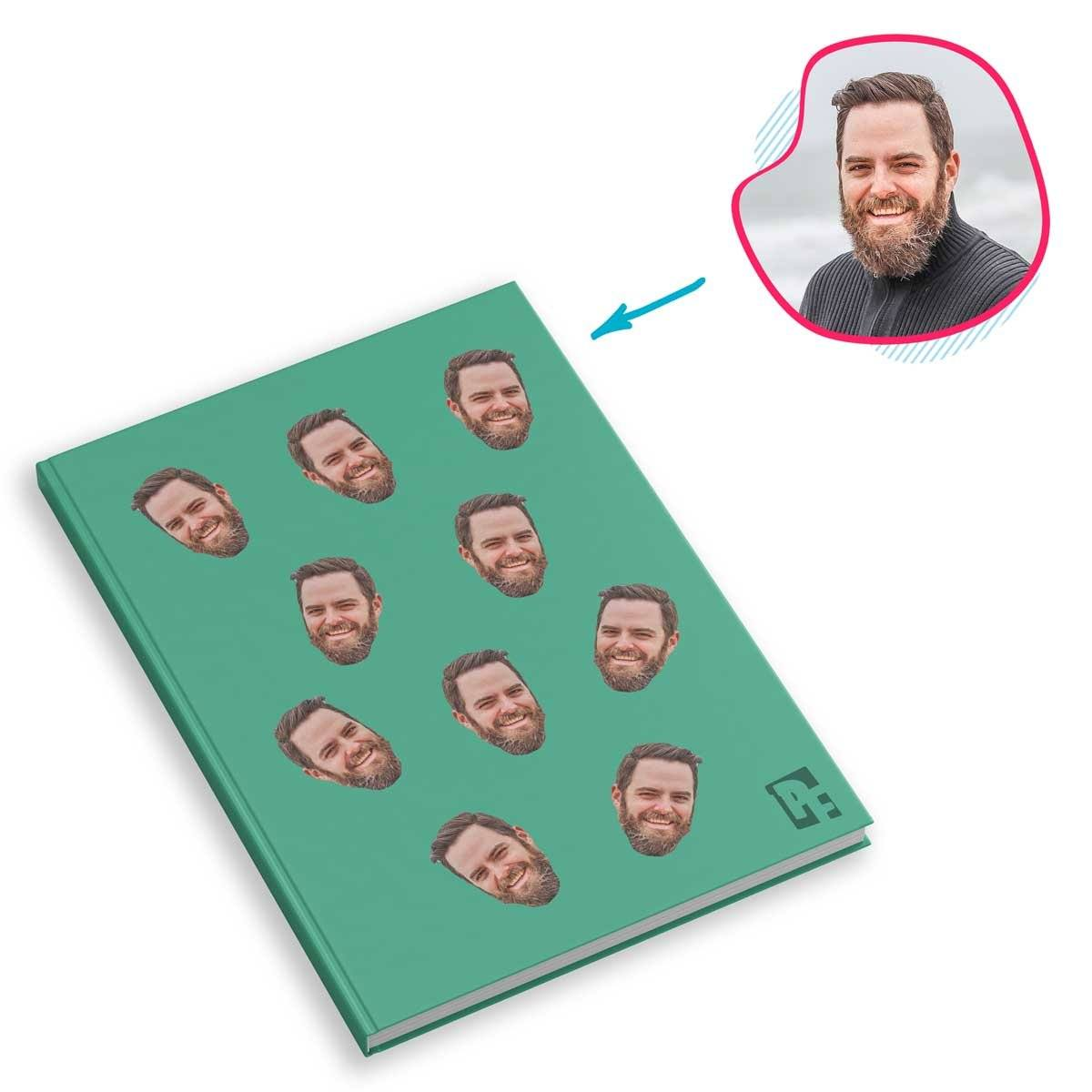mint Blank design Notebook personalized with photo of face printed on them