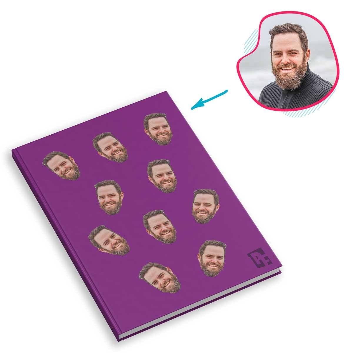 purple Blank design Notebook personalized with photo of face printed on them