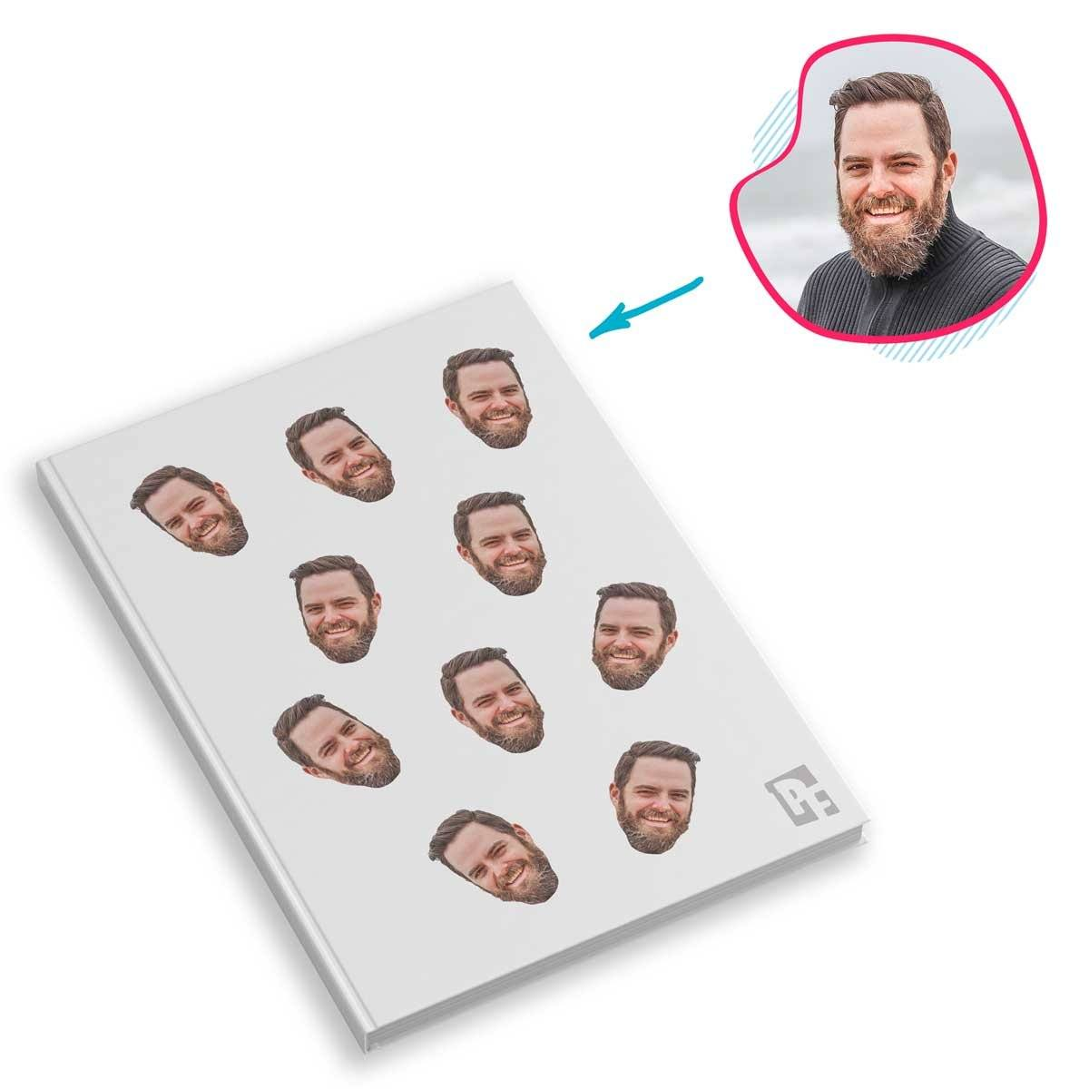 white Blank design Notebook personalized with photo of face printed on them