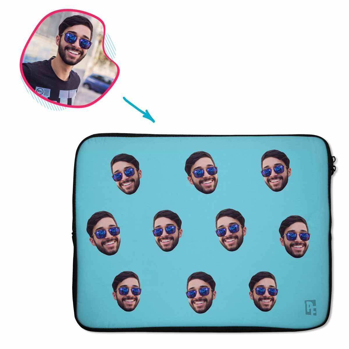 blue Blank design laptop sleeve personalized with photo of face printed on them