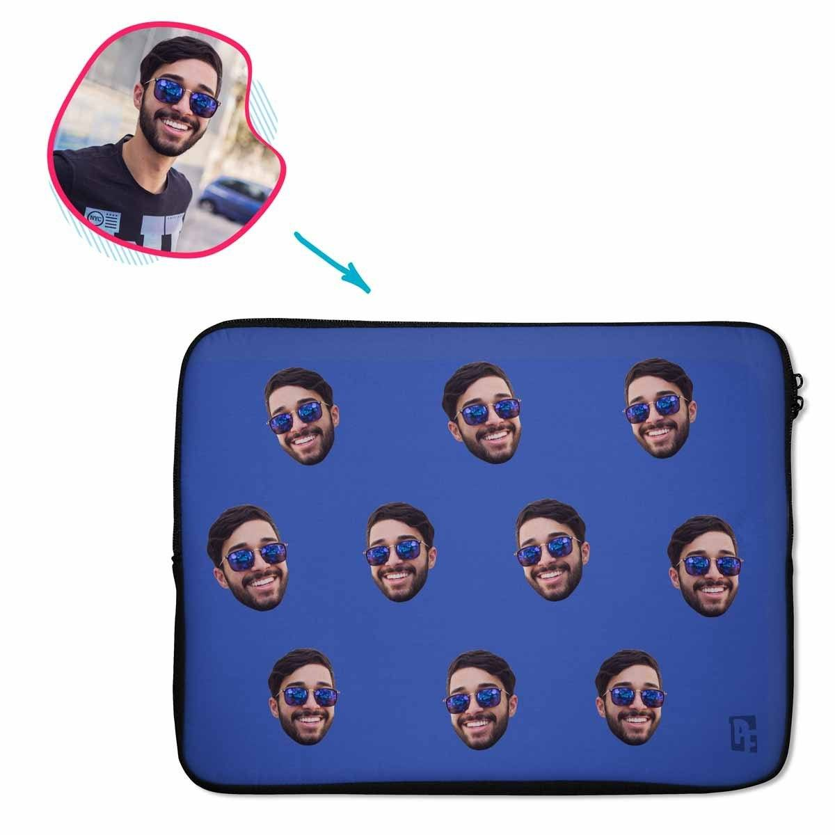 darkblue Blank design laptop sleeve personalized with photo of face printed on them
