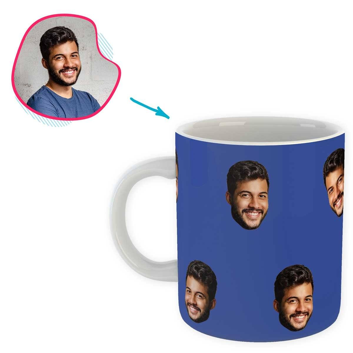 darkblue Blank design mug personalized with photo of face printed on it
