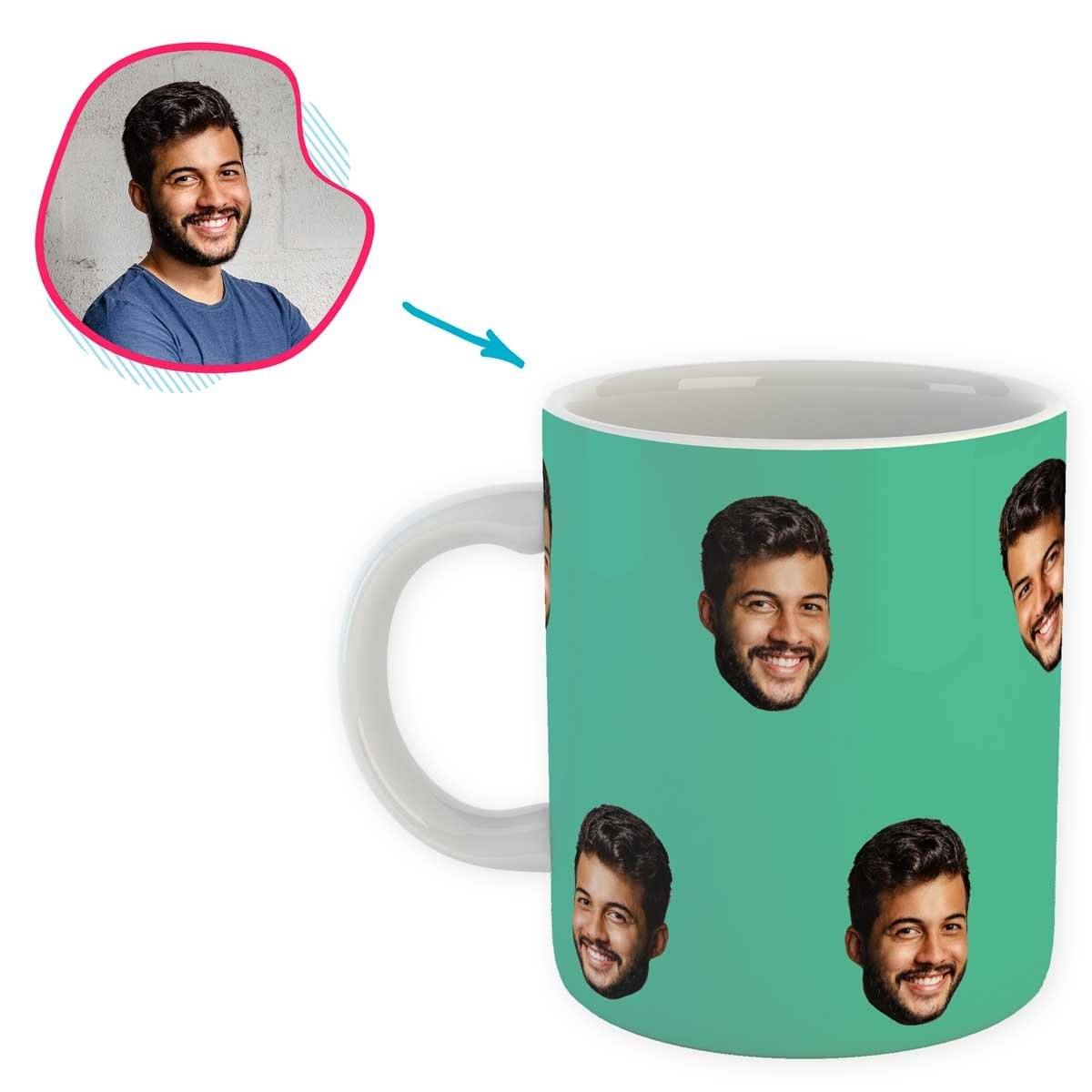 mint Blank design mug personalized with photo of face printed on it