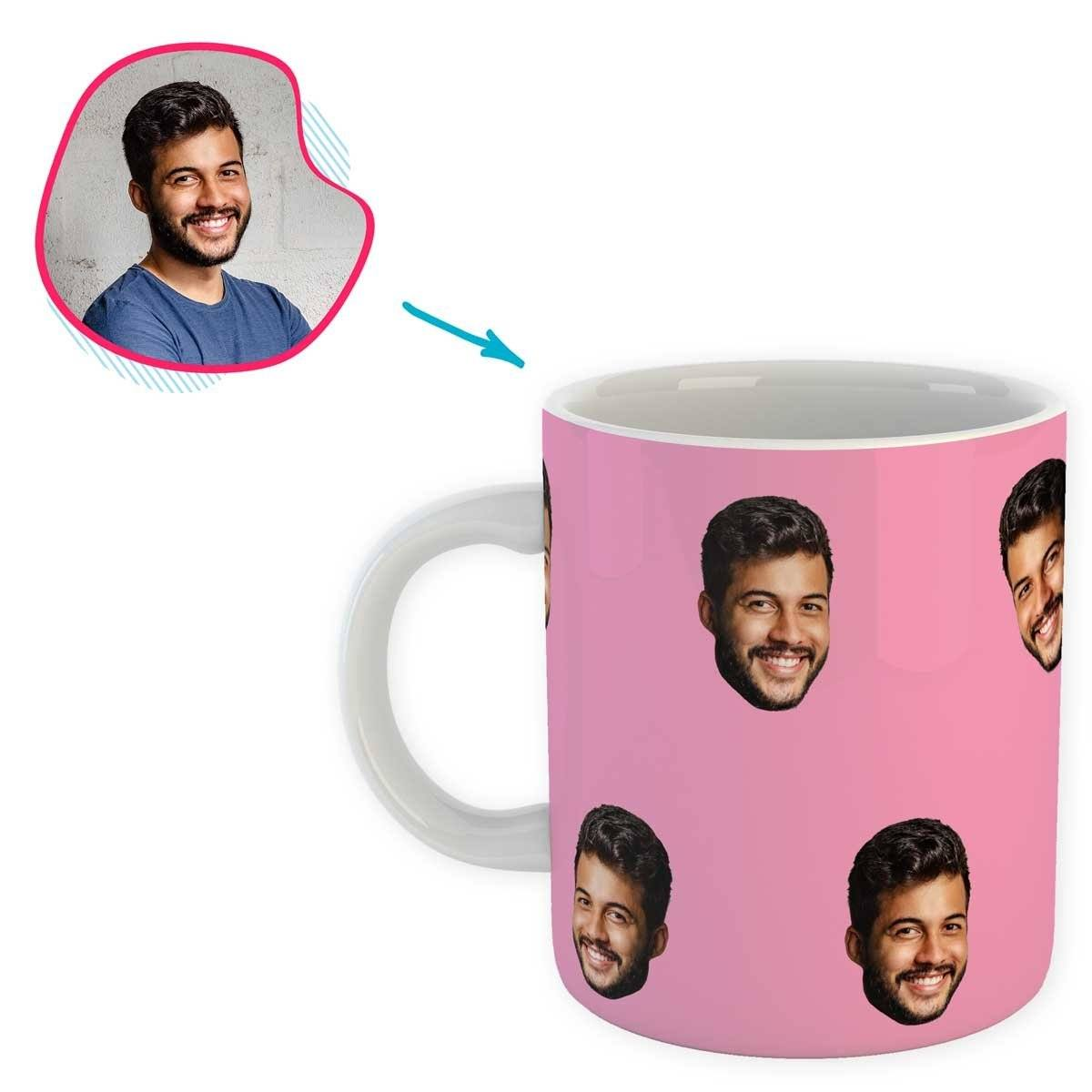 pink Blank design mug personalized with photo of face printed on it